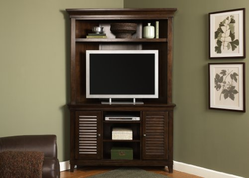 Cheap LIBERTY LAKEWOOD CORNER ENTERTAINMENT CENTER TV STAND HUTCH AMARETTO PEWTER (481-CENT)