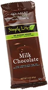 Simply Lite Low Carb Milk Chocolate, 36% Cacao, 3-Ounce Bars (Pack of 10)