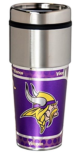 Minnesota Vikings 16 ounce Travel Tumbler with Metallic Graphics