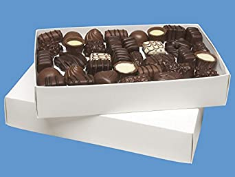 """2 lb Candy Boxes - 9 3/8 x 5 5/8 x 2"""", White - 125/carton"""