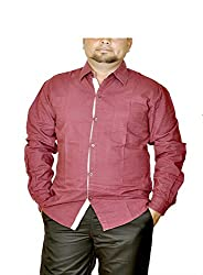 Routeen Men's Maroon Slim Fit Shirt (SMRCTNLCD101S5_XL)