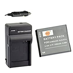 DSTE SLB-07A SLB07A Rechargeable Li-ion Battery + DC91 Charger for Samsung ST50 ST500 ST550 TL100 TL220 TL225 Camera