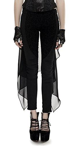 Pantaloni Nero Donna con velo pizzo e motivo floreale Gotico Elegante Punk Rave nero XL