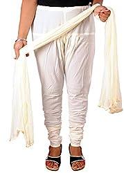 Tinnu G Women's Cotton Churidar and Dupatta Set (TGDP1303_White_Free Size)