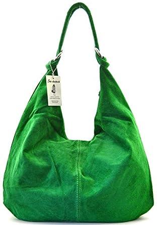 SAC-DESTOCK - LEATHER Handbag Nubuck - Ref: IBIZA / New Collection Spring-Summer 2014 / Sale (MEDIUM GREEN)
