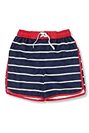 Contrast Drawstring Mixed Stripe Print Swim Shorts