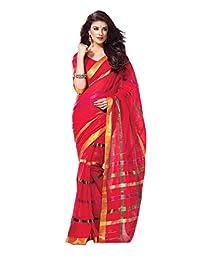 Deep Red Party Wear Saree Zari Lace Work Bollywood Cotton Sari