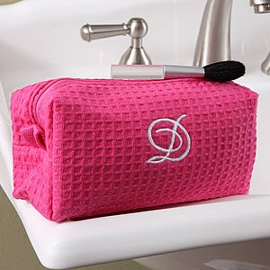 Personalized Cosmetic Bag - Pink Waffle Weave