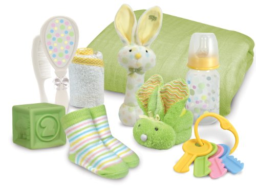 Stephan Baby Boo Bunnie Rattle and Swaddle Blanket Soothe and Amuse Gift Set, Green