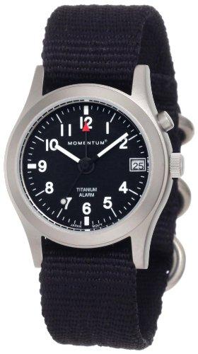 Momentum Pathfinder - Reloj analógico de mujer de cuarzo con correa textil negra (alarma) - sumergible a 100 metros