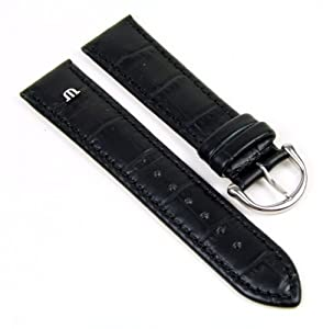Original Maurice Lacroix Correa de Reloj piel de becerrocuero Kroko Optik negro 20mm 293062010S marca Maurice Lacroix