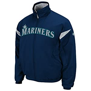 MLB Seattle Mariners Long Sleeve Lightweight Full Zip Thermabase Premier Jacket by Majestic