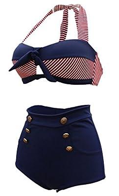 Machbaby Retro Navy Blue Short Red White Stripe High Waist Bikini Halter Swimsuit