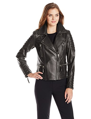 Women's Leather Moto Jacket with Gold Hardware, Black,