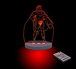 Superman Night Light, LED 12 colors with interactive remote, Warner Bros.