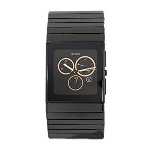 Rado Men's R21714162 Ceramica Black Gold-Tone Subdial Watch from Rado
