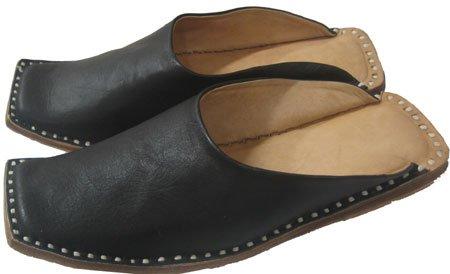 Cheap Black Mens leather handmade slippers Indian Clothing (B00A3ISLKK)