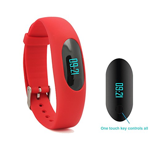 Willful Non-Bluetooth Pedometer Bracelet Fitness Tracker Wristband with Calorie Counter Walking Distance Step Counter Sleep Monitor Time / Date Display for Outdoor Running Walking (Red)