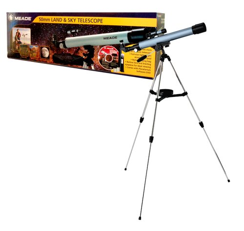 Meade 50Mm Land And Sky Telescope With Aluminium Tripod, Nylon Carrying Bag, Barlow Lens And Erecting Eyepiece For Ideal Viewing Plus Planetarium Software Dvd