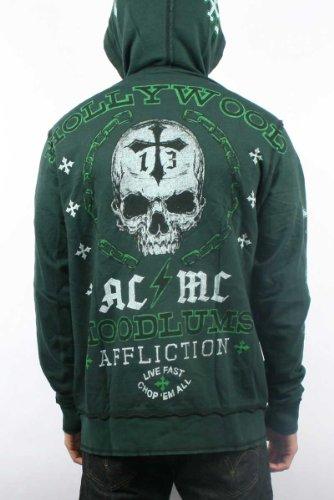 Affliction - Mens Hoodlums Reversible Zip-Up Hoodie in Hunter Green/Black, Size: Medium, Color: Hunter Green/Black