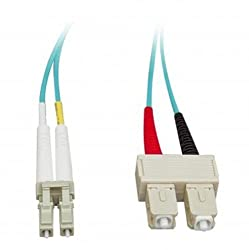 Micro Connectors Inc. 10 Gigabit Aqua Fiber Optic Cable LC/SC Multimode Duplex 50/125 2-Meter (FBR-1012-2M)