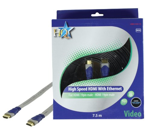 HQ Standard 7.5m 19P Male High Speed HDMI to 19P Male Flat Audio/Video Conversion Cable with Gold Plated Plugs