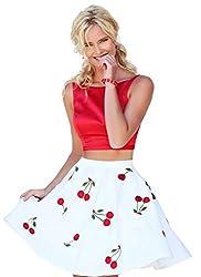 Isha Enterprise Raw Silk(skirt-Semi Stitched) , Taffeta(top-Only Fabric) White & Red Digital Printed Skirt