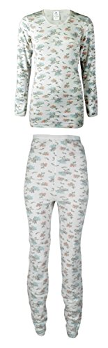 Indera Mills Women's Soft Cotton Raschel Knit Top and Bottom Set (Medium, Floral Print Set)