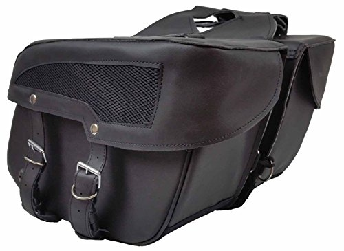 Vance Leather Medium 2 Strap Slant Saddle Bag with Mesh Insert. Bag 14 x 10 x 6 (Mesh Bag Inserts compare prices)