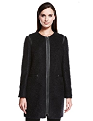 Autograph Bouclé Long Coat with Wool
