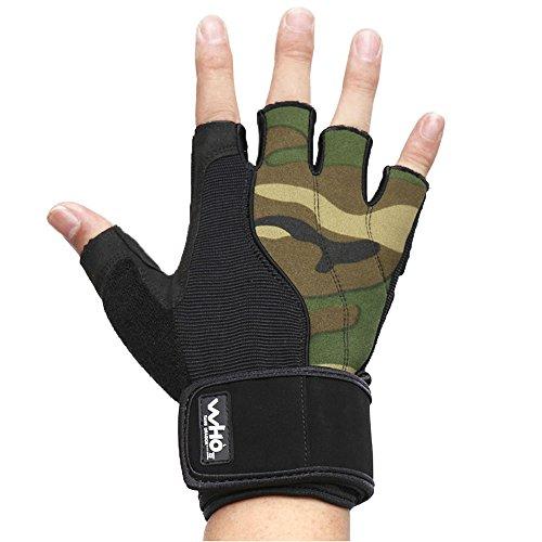 Uomo di alta qualità guanti fitness, lungo polso guanti avvolgere per palestra Fitness, Camo, M