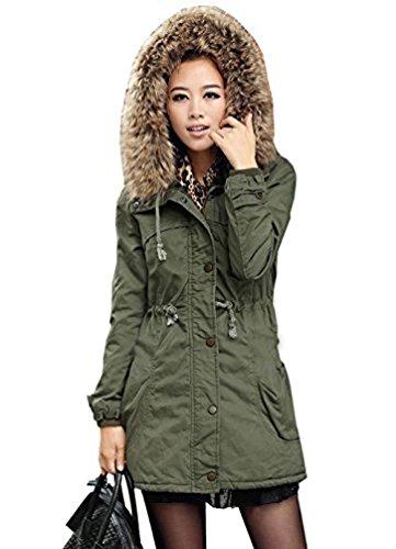 DEARCASE Women's Hooded Drawstring Military Jacket Parka Coat (X-Small, Army Green)
