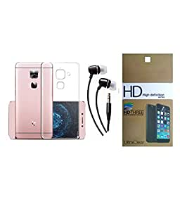 LeEco Le 2 Mocell SOFT TRANSPARENT SILICON BACK COVER CASE + SCREEN GUARD PROTECTOR + EARPHONE COMBO