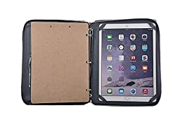 Deluxe 3-Ring Binder Padfolio with Handle and Clipboard,Outside Pouch Pocket, for 12.9 inch iPad Pro,Gray