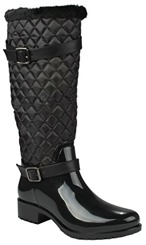 Women Rainy Black Knee High Side Zip Quilted Riding Winter Rain Boots-10 (Stylish Rain Boots compare prices)