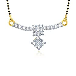 VK Jewels Square Shaped Mangalsutra Pendant Gold and Rhodium plated - MP1019G [VKMP1019G]