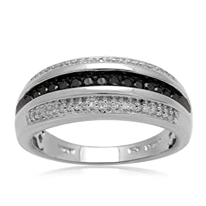 Men's Sterling Silver Black and White Diamond Ring