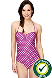 Spotted Bandeau Swimsuit