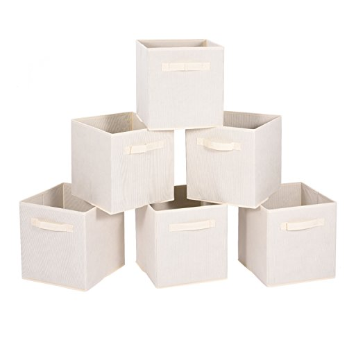 Foldable Storage Cubes, MaidMAX Set of 6 Nonwoven Cloth Organizers Basket Bin with Dual Handles for Christmas Gift, Beige (Kids Room Organization compare prices)