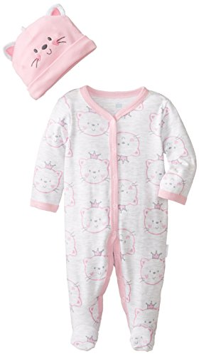 Vitamins Baby Baby-Girls Newborn Kitty Face 2 Piece Coverall Set