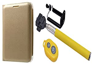 Novo Style Samsung Galaxy Star Advance G350E Premium PU Leather Quality Golden Flip Cover+ Selfie Stick with Adjustable Phone Holder and Bluetooth Wireless Remote Shutter
