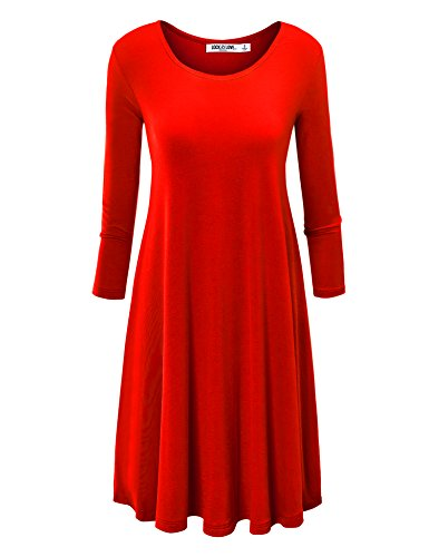 LL Womens Round Neck 3/4 Sleeves Trapeze Dress with Pockets XL RED