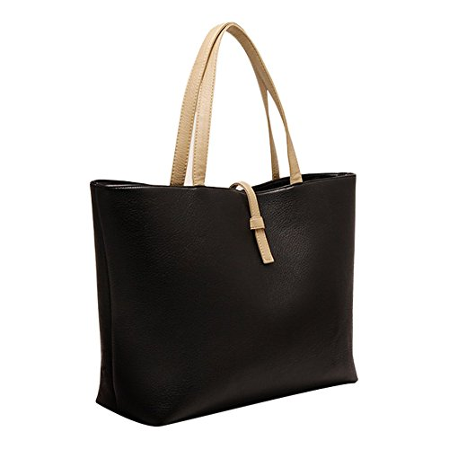 Elegante PU Pelle Donna Bag Shopping Borsa (Nero)