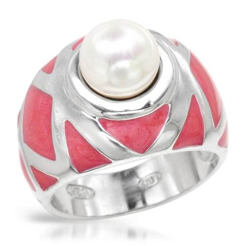 LAUREN G. ADAMS Wonderful Ring With Faux pearl Well Made in Pink Enamel and 925 Sterling silver. Total item weight 7.7g (Size 10)