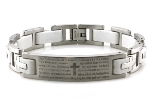 Stainless Steel Lord's Prayer ID Biker Bracelet w/ White Rubber Links 8.5
