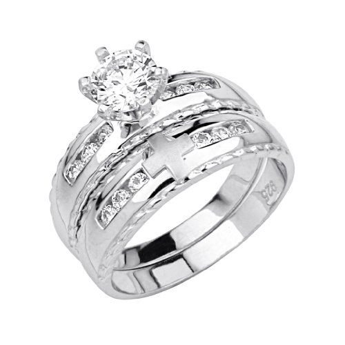 .925 Sterling Silver CZ Ladies Cross Wedding Engagement Ring and Matching Band 2 Pieces Set - Size 7