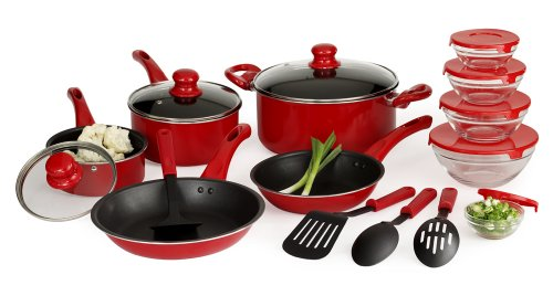 Basic Essentials 17 Piece Aluminum Cookware Set, Red