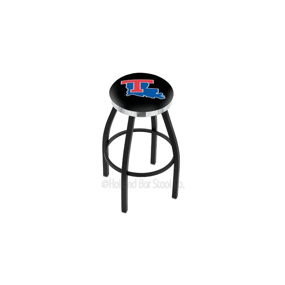 25 Louisiana Tech Counter Stool   Swivel With Black Ring and Chrome Accent