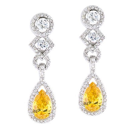 Geometric Drop C.Z. Canary Diamond Silver Earrings (Nice Holiday Gift, Special Black Firday Sale)
