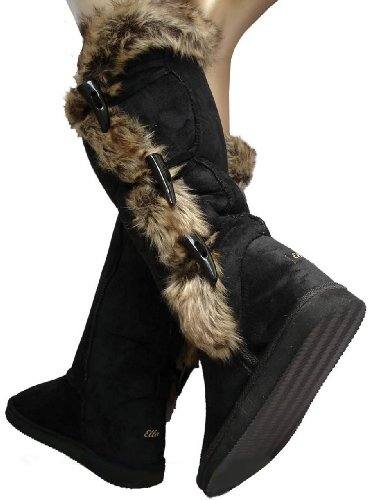 Ladies Black Toggles Knee High Snugg Nomad Boots